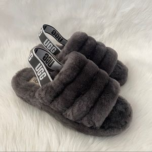 New UGG Fluff Yeah Sandals Charcoal 8